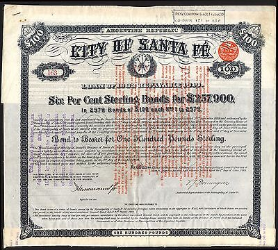 Argentina: City of Santa Fe, 6% Loan, 1889, £100 bond