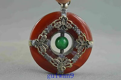 Collectible Miao Silver Carving Vivid Butterfly Inlay Jade Lucky Fashion Pendant
