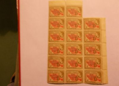 BLOCK of 17 MINT GOLD COAST 1/2d VALUES overprinted GHANA INDEPENDENCE 6/3/1957
