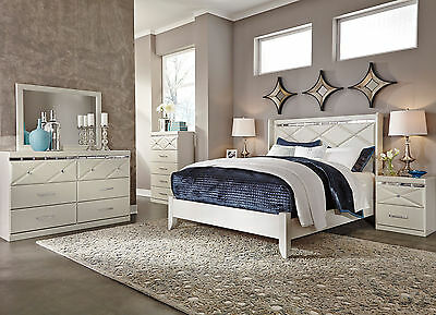 BLAIR - 5 Pieces Contemporary Champagne White King Panel Bedroom Set Furniture