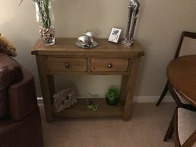 Solid Oak 2 Drawer Console Table / Side Unit