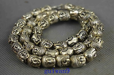 Collectible Old Miao Silver Carving Gracious Buddha Head Exorcism Lucky Necklace