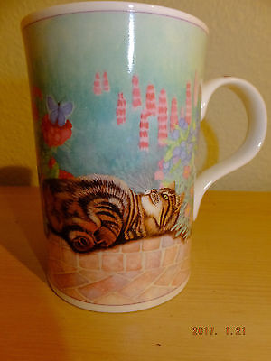 Fine bone china Wren Floral Cats Jenny Quinn thin coffee mug tea England #2