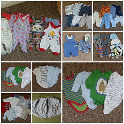 Baby boy 0-3 months bundle (sleepsuits, vests, trousers, swaddle wrap, etc.)