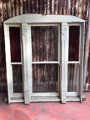 Timber Double Hung Window With Red Stained Glass 1520w X 1590h