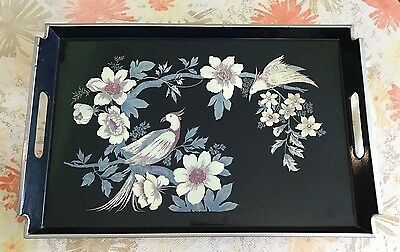Vintage Pink Lacquer Ware Tray Japan TOYO Flowers & Birds