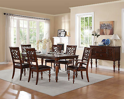 BANNER-7 Piece Traditional Cherry Brown Rectangular Dining Room Table Chairs Set