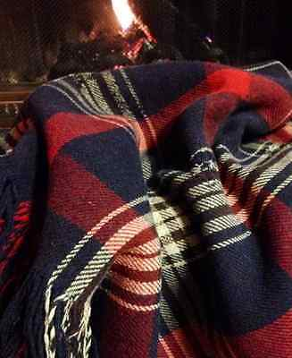 Vintage England Wool B. Altman & Co. Throw blanket deep red navy blue plaid bx6