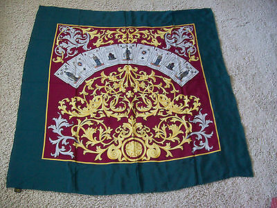 """Silk Scarf 39"""" square green gold red hand sewn rolled hem"""