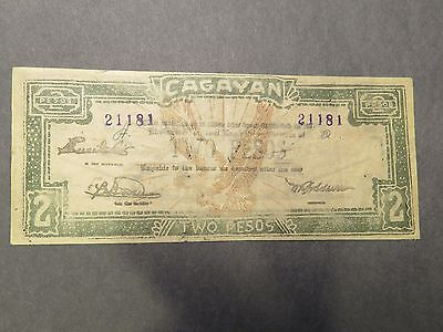 Philippines WWII emergency currency - Cagayan - 2 peso- green - #21181