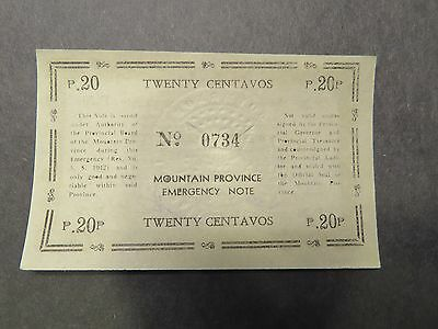 Philippines WWII emergency currency - Mountain Province - 20 centavos - #0734