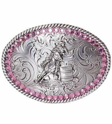 Nocona Western Kids Belt Buckle Oval Youth Girl Pink Crystals Barrel Racer 37380
