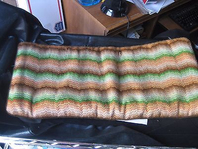 Vintage Needlepoint Piano Bench Pad Hand-made Green Brown Zigzag Chevron Style