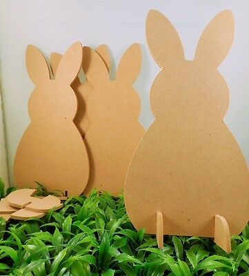 Pack Of 10 3D Wooden Easter Craft Bunny/rabbit Shapes