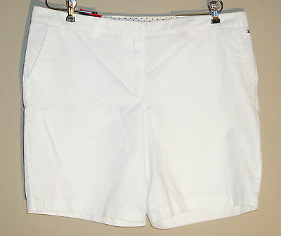 Tommy Hilfiger NWT Sz:16 White Shorts Modern Fit 4 Pocket 100% Cotton NEW