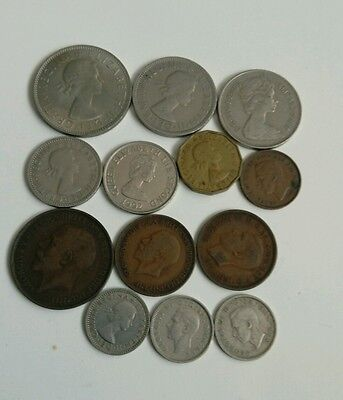 13 British coins of various dates and denominations