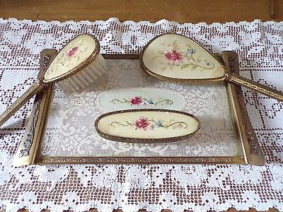 Antique Brass Hand Embroidery  Floral   Dressing Table Set Piccadilly London