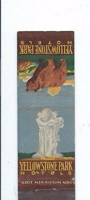 MATCHBOOK COVER  Yellowstone Park Hotels