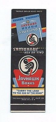 MATCHBOOK COVER Jayhawk Boxes Lawrence Paper Company Lawrence Kansas