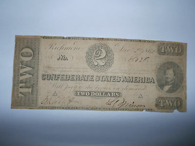 1862 Confederate States of America $2 Two Dollar Bill Civil War Currency Note!