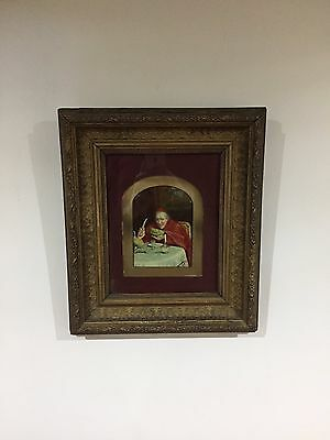 Antique 19th Or Early 20th C Oil On Board Cardinal Eating A Melon