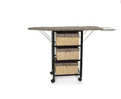 Improvements Rolling Storage And Ironing Center w/Heat Shield & Baskets Leopard