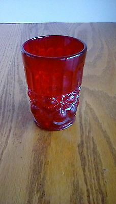 Vintage Heavy Ruby Red Drinking Glass Maker Unknown