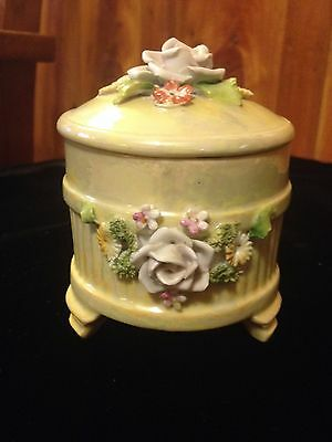 Vintage Small Yellow Trinket Box - Raised Flowers - Germany