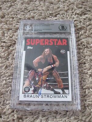 Braun Strowman signed 2016 TOPPS Heritage WWE BAs slabbed card