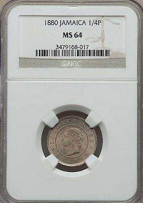 1880 Jamaica Farthing, 1/4 Penny, NGC MS 64, None Finer @ NGC