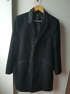 Mens H&m Coat Jacket Wool Blend Heavy Black Size 36 In S Small Excellent