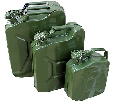 20 Ltr METAL FUEL JERRY CAN DIESEL PETROL OIL GREEN MILITARY STYLE ARMY CAMPING
