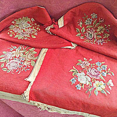 4pcs Vintage Red Floral Bouquet Needlepoint Panels/Chair Covers 15 3/4 x 18 1/2