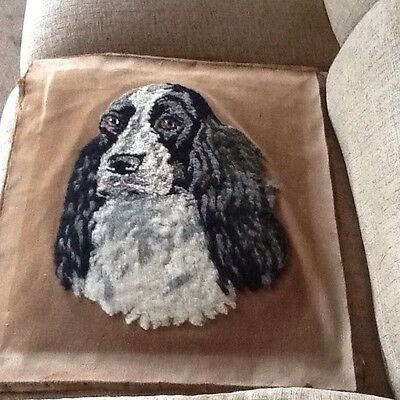 Cocker Spaniel Vintage Needlepoint Tapestry.