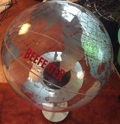 Vintage BEEFEATER GIN Liquor World Map Clear Globe Sign Bar Barware Advertising