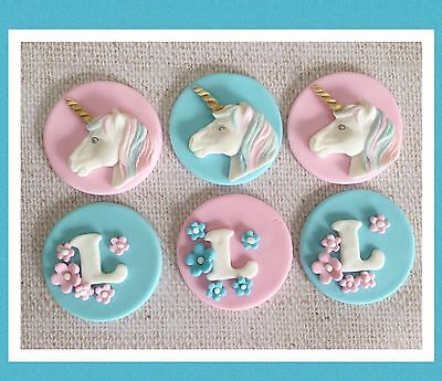 12 Unicorn And Letter Edibl cake/cupcake topper/ decorations BIRTHDAY Girl Party