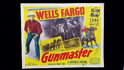 Original 1951 WELLS FARGO GUNMASTER #1 TITLE LOBBY CARD *ROCKY LANE WESTERN