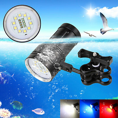 10x XM-L2+4x R+4x B 12000LM LED Photography Video Scuba Diving Flashlight Torch