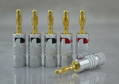 8pcs Nakamichi 24K Gold Plated Speaker Banana Plug  Audio Jack Connector for DIY