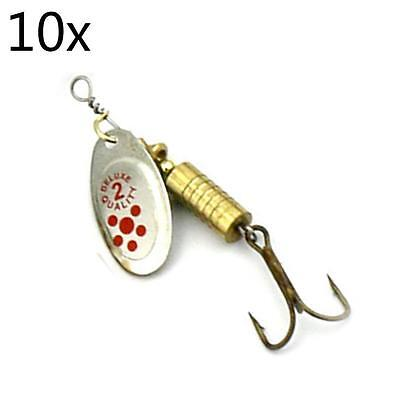 High Quality 10 Pieces Sequin Fishing Tackle Lure Hard Spoon Metal Baits 4# FB
