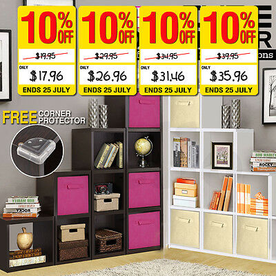 Wooden Storage 1/2/3/4 Cube Strong Bookcase Home Office Display &Fabric Cube Bin