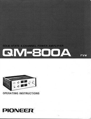 Pioneer QM-800A Amplifier Owners Manual