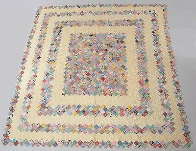 Vtg 1930s HAND MADE QUILT Cross Hatch Feather Hand Quilted Hand Pieced 76x72