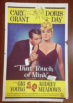 Vintage 1960s Cary Grant That Touch of Mink Original U.S. One Sheet Movie Poster