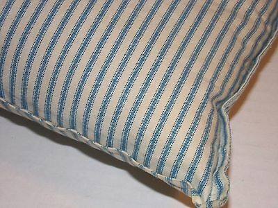 Vintage PLUMP Down FEATHER Filled Pillow - FRENCH BLUE TICKING - NO STAINS !