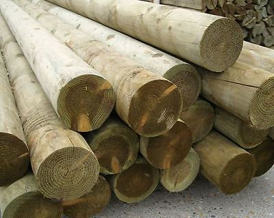 Treated Pine Pole/Log 100mm - 125mm 3 mtr long, Fence post