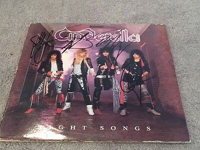 Cinderella GROUP Signed Autographed NIGHT SONGS Album LP TOM KEIFER  ++