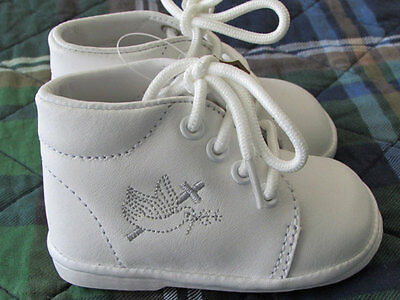 New Gift Handmade Baptism Christening Gown Baby Boy White Dove Cross Sole Shoes