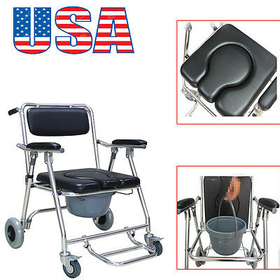 USA Durable Commode Wheelchair Mobile Bedside Toilet ShowerChair Rolling 4Brakes
