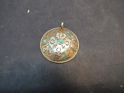 Old Asian Pendant With Turquoise & Coral